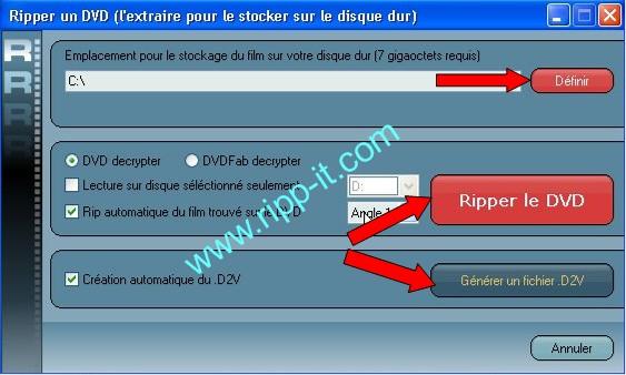 Ripper DVD - Choix destination du Rip