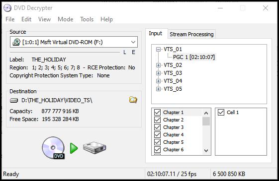 Ouverture DVDdecrypter et scan du DVD à extraire par DVD Decrypter
