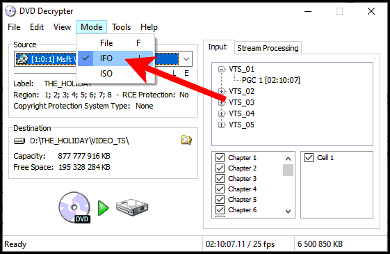 Sélection du mode IFO pour l'extraction dans DVD Decrypter