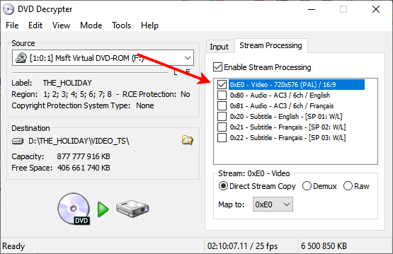 Piste vidéo à extraire du DVD vidéo