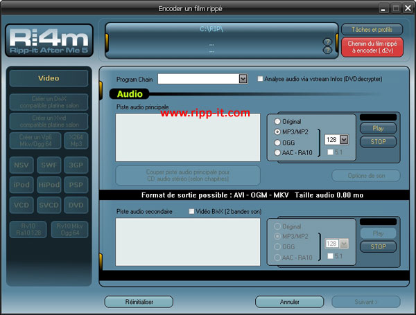 Params audio DVD en MP4 AAC